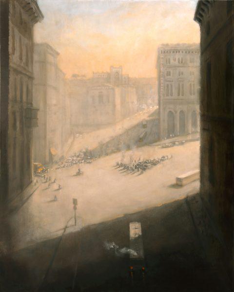 Piazza Venezia from via Plebiscito, Rome, 100 x 81 cm, 2013