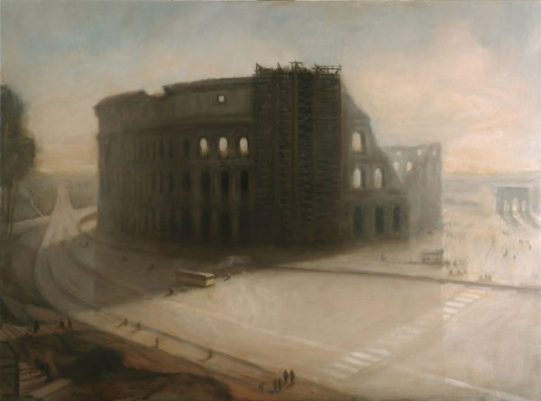 Colosseo with bus, 60 x 81 cm, 2013