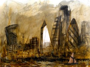Towers of The City of London, traditional Thames Sailing Barge (2019)